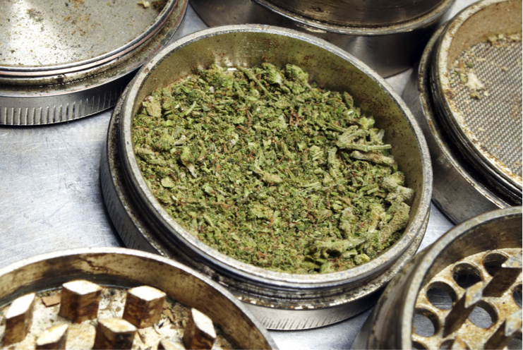 grinder with ground weed