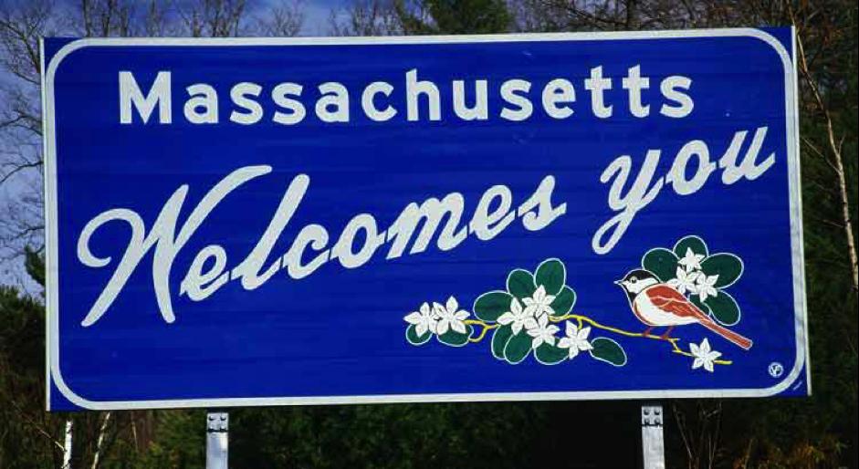 Massachusetts sign post